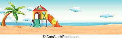 スライド, 浜 場面