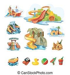 スライド, aquapark, セット, 水, icion