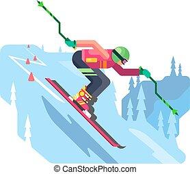 スラローム, 滑降スキー