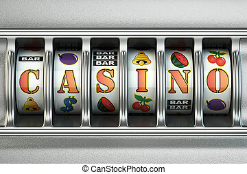 スロットマシン, ∥で∥, カジノ, text., jackpot, concept.