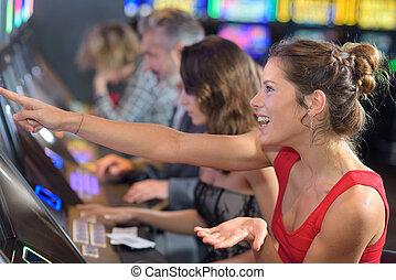 スロットマシン, カジノ, 女性の モデル