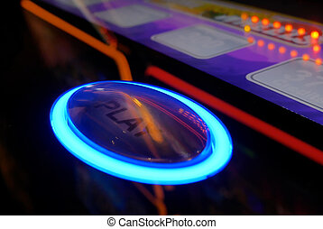 スロットマシン, プレーしなさい, ボタン, カジノ, 動き, 中