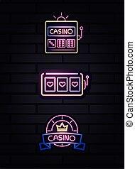 スロット, ギャンブル, ネオン, カジノ, 機械, チップ, 壁, 印, れんが