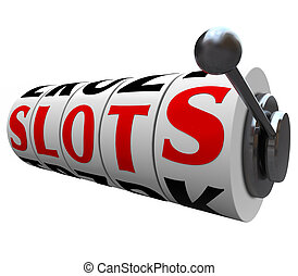 スロット, 単語, カジノ, 機械, ハンドル, スロット, 車輪