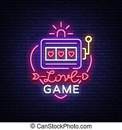 スロット, 夜, 愛, 旗, 広告, ライト, カジノ, ネオン, ゲーム, テンプレート, 印, 明るい, カジノ, デザイン, gambling., vector., ギャンブル, ロゴ, シンボル, 機械, スタイル