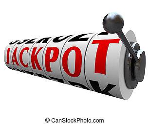 スロット, jackpot, 単語, お金 機械, 車輪, 支払い