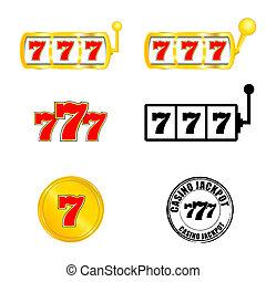 スロット, jackpot, 777, カジノ, イラスト, ベクトル