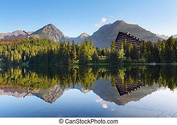 スロバキア, 山湖, 中に, tatra, -, strbske, pleso