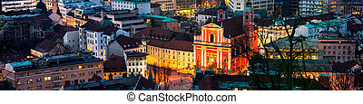 スロベニア, 光景, 航空写真, ljubljana, 夜