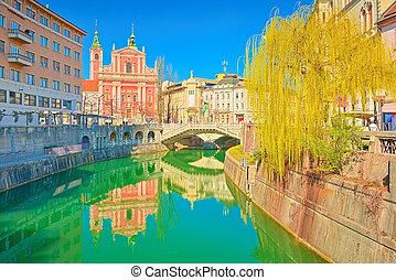 スロベニア, 3倍になりなさい, ljubljana, 都市の景観, 大聖堂, ljubljanica, 川, 橋