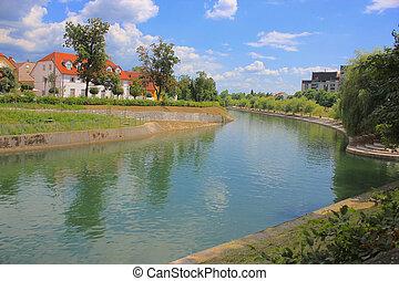 スロベニア, ljubljanica, 川, ljubljana, 銀行