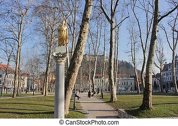 スロベニア, trg, 公園, ljubljana, kongresni, zvezda