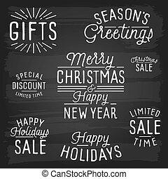 スローガン, レタリング, 新しい, クリスマス, 手, 引かれる, 年