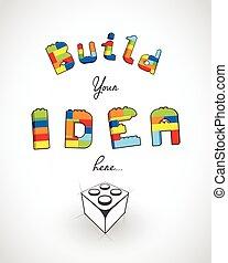 スローガン, 考え, ここに, あなたの, 建造しなさい, template.