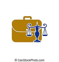 スーツケース, アイコン, 正義, 雇用, デザイン, 隔離された, 会社, 法律, ロゴ