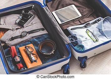 スーツケース, フルである, 開いた, 衣服