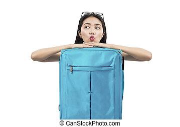 スーツケース, 傾倒, 女, アジア人