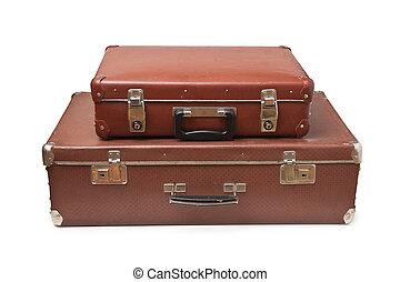 スーツケース, 古い, 隔離された, 2