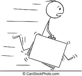 スーツケース, 大きい, 2, ∥あるいは∥, 動くこと, ビジネスマン, 急ぎ, 漫画, 人