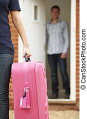 スーツケース, 女, 夫, パックされた, 去ること