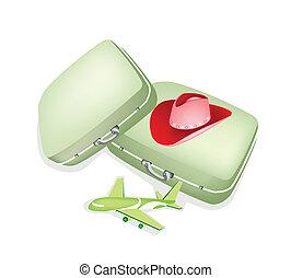 スーツケース, 旅行, カウボーイ, 旅行者, 2, 帽子