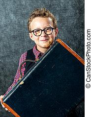 スーツケース, 男の子, 若い
