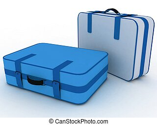 スーツケース, 隔離された, 白