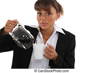 スーツ, コーヒー, 女, 飲むこと, カップ