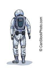 スーツ, スペース, 色, 光景, 宇宙飛行士, 背中, フルである