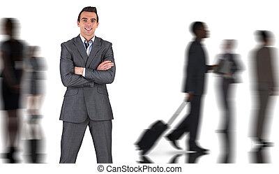スーツ, 合成, 灰色, 微笑, カメラ, ビジネスマン, イメージ