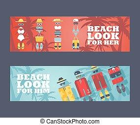 スーツ, 夏, swimwear, 浜, 男性, デザイン, women., ベクトル, 休暇, 店, 付属品, 衣服, illustration., 浜, 水泳, 旗, 広告