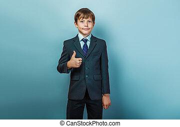 スーツ, 男の子, の上, 親指