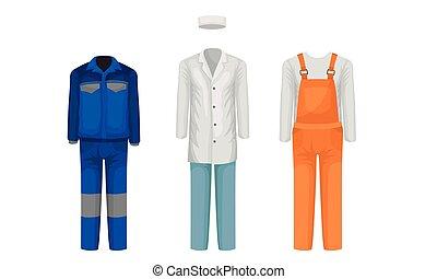 スーツ, 衣類, コレクション, set., ウエア, 職業, 別, 仕事, ベクトル, ユニフォーム