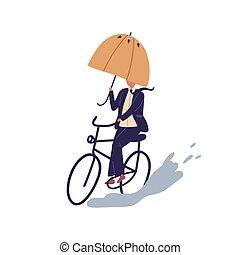 スーツ, 隔離された, バックグラウンド。, 平ら, 水たまり, 日, 傘, 漫画, 方法, 白, ベクトル, 自転車, 秋, マレ, 自転車に乗ること, 克服, 人, 乗車, ビジネスマン, 下に, サイクリング, 雨, illustration., obstacles.