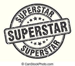 スーパースター, 印。, グランジ, ラウンド, stamp.
