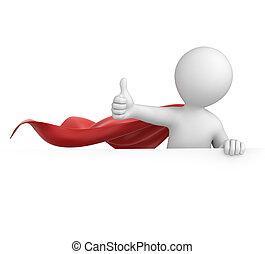 スーパーマン, の上, 親指
