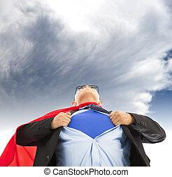 スーパーマン, ビジネスマン, tシャツ, まねをしなさい, 彼の, 開いた, 引き