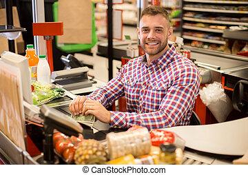 スーパーマーケット, キャッシャー, 若い, 仕事, ハンサム