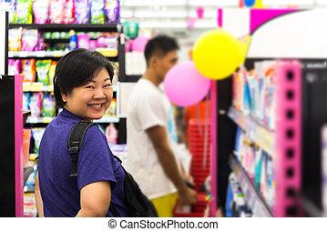 スーパーマーケット, セール, 化粧品, 多数, タイプ