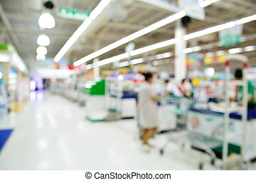 スーパーマーケット, 店, ぼやけ, 背景, カウンター, ∥で∥, 顧客