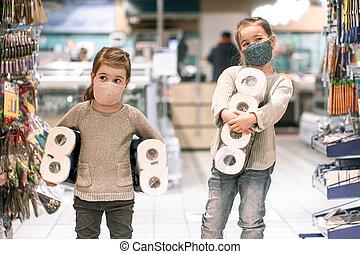 スーパーマーケット, 買い物, 子供, の間, pandemic