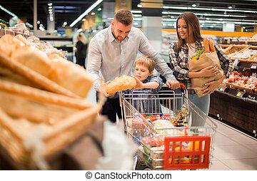 スーパーマーケット, bread, 家族, 購入, 若い