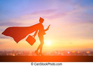 スーパー女性, シルエット, ビジネス