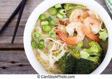 スープ, ヌードル, アジア人, 車エビ