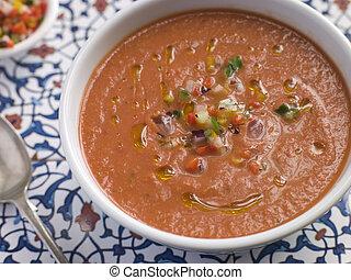 スープ, 冷えた, ボール, gazpacho