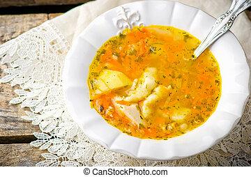 スープ, 鶏, ゆで団子