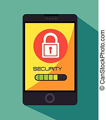 セキュリティー, ∥で∥, smartphone, 装置, 隔離された, アイコン