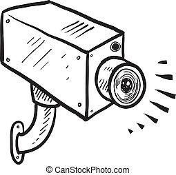 セキュリティー, カメラ, スケッチ