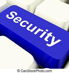 セキュリティー, コンピュータのキー, 中に, 青, 提示, プライバシー, そして, 安全