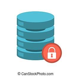 セキュリティー, サーバー, データ, ネットワーク, 中心